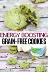 Pinterest image with text: two images of energy-boosting chocolate chip cookies the top image of one cookie split on top of the other and the bottom of the cookies in a line with matchinga powder behind them