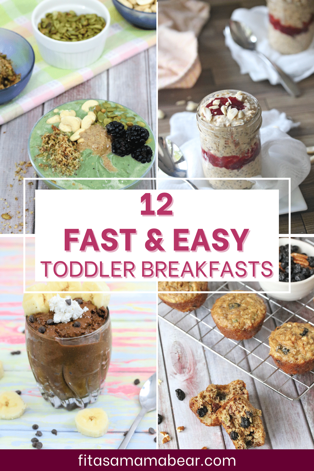 Pinterst image with text: 4 images of breakfast ideas for toddlers