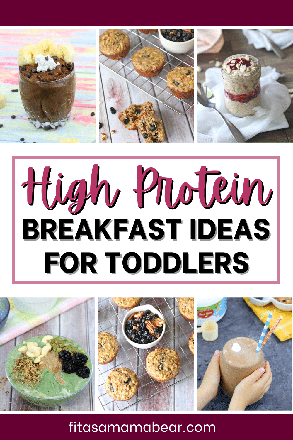 Pinterest image with text: 6 images of breakfast ideas that are healthy and for toddlers