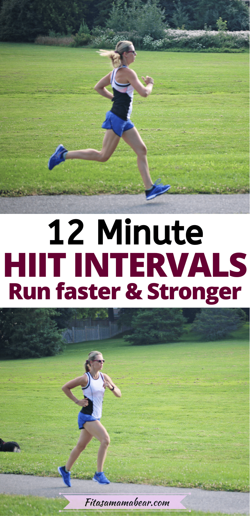Pinterest image with text: two images of a lady running through a park