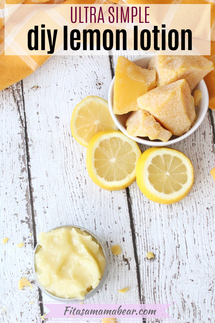 Pinterest image with text: diy body butter with a spatula, lemons and a bowl of beeswax behind it