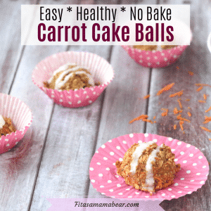 Featured image with text: no-bake, vegan carrot cake balls on pink cupcake wrappers