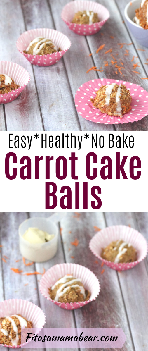 Pinterest image with text: no-bake, vegan carrot cake balls on pink cupcake wrappers