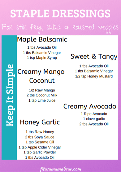 Pink and blue printable sheet with text about salad dressings