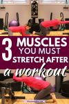 Pinterest image with text: woman in red shirt and grey pants performing multiple stretches in the gym