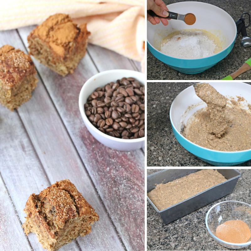 Dairy free coffee cake collage with in process images