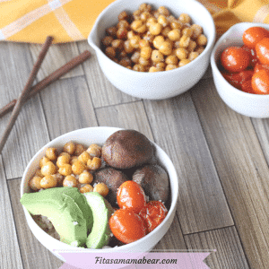 Featured image with text: white bowl with avocado, chickpeas and vegetables with more bowls of ingredients and chopsticks behind them