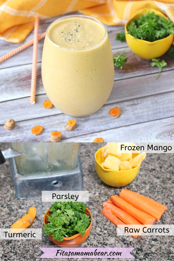Pinterest image with text: a mango carrot smoothie on top and below a picture of the ingredients