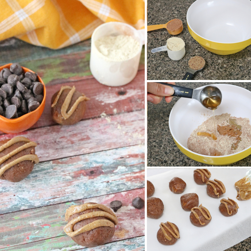 Collage image of no-bake chocolate protein balls, the first image of the balls around chocolate chips and protein and the other images of how to make the paleo protein balls