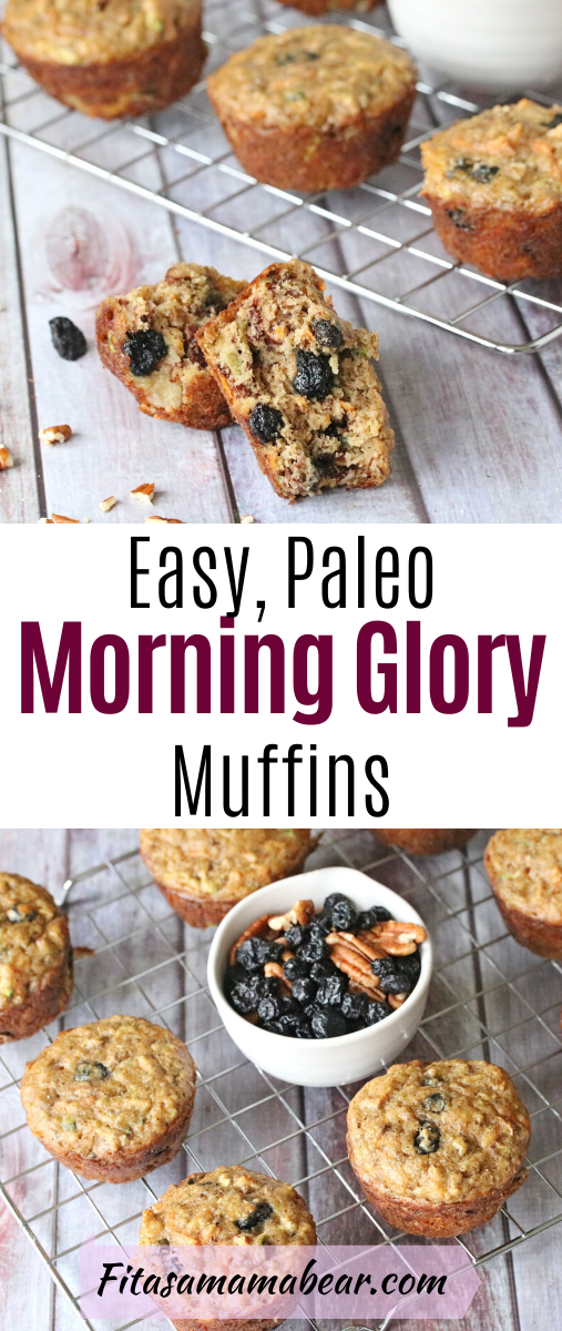 Pinterest image with text: paleo morning glory muffins on a cooling tray with ingredients in the middle