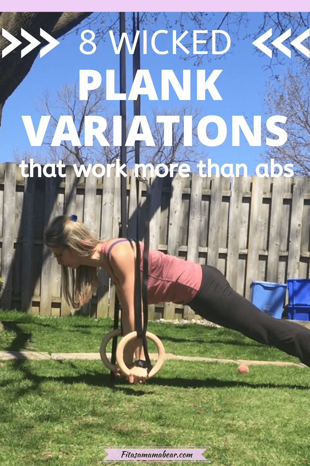 Featured image with text: woman outside performing a plank variation on gymnastic rings