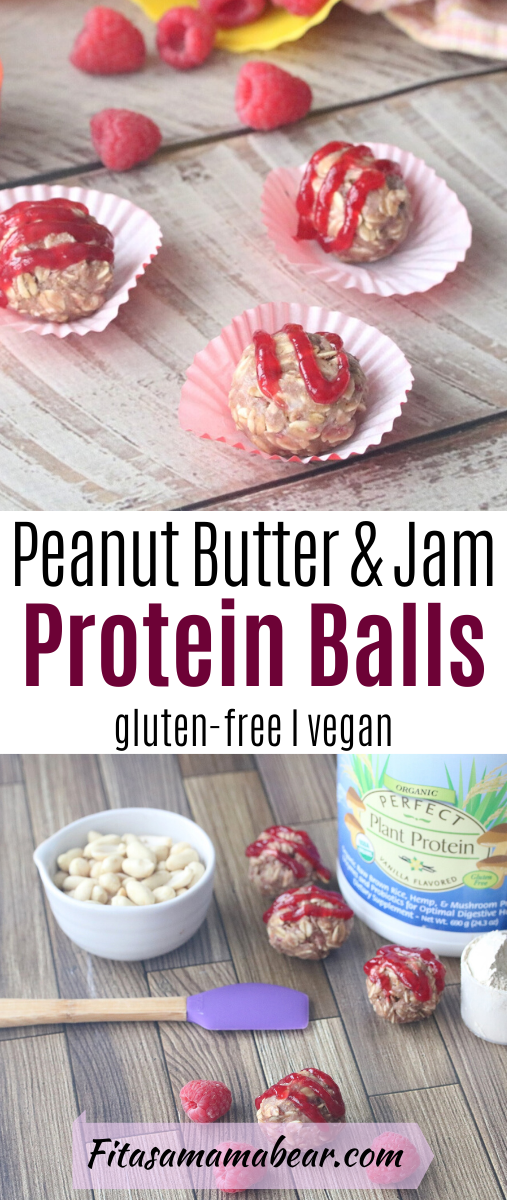 Pinterest image with text: peanut butter and jam protein balls in muffin cups with peanut butter and raspberries around them