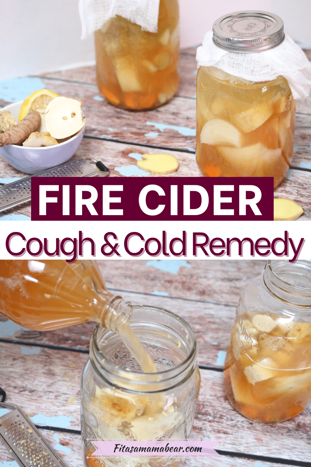 Pin image with text: two images of mason jars with raw veggies to make fire cider with jar being filled with apple cider vinegar
