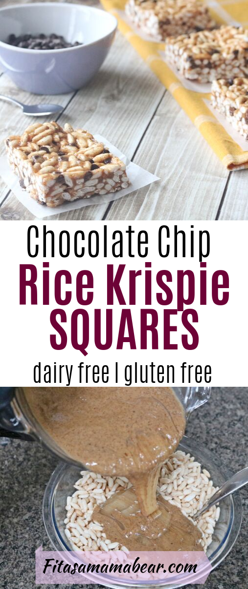 Pinterst image with text: two images, image on top of a rice krispie square on parchment paper and purple bowl of chocolate chips. Image on bottom of almong butter and honey being poured into rice crispy bowl
