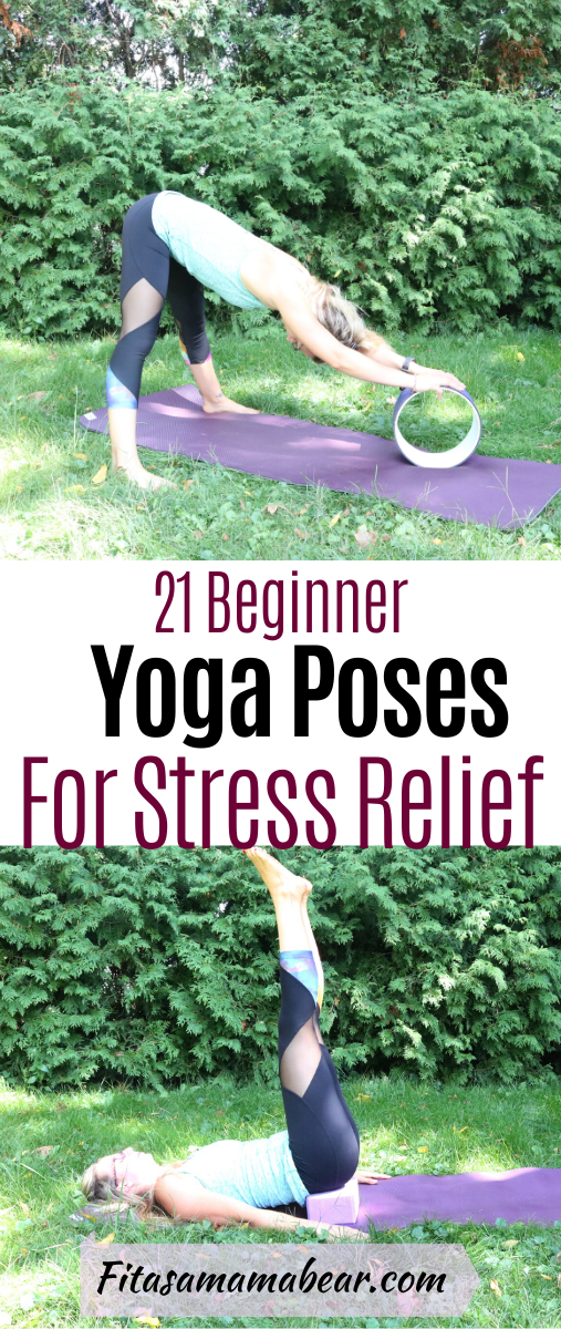 Pinterest image with text: woman in black pants and green shirt on a yoga mat outside doing yoga for stress relief