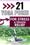 Pinterest image with text: woman in blue shirt and black pants outside lying on a yoga mat using a yoga strap to perform a leg stretch