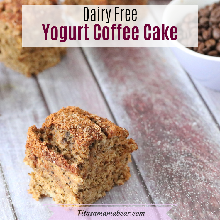 Pinterest image with text: one squared coffee cake in front and three squares of cake behind with a small bowl of coffee beans
