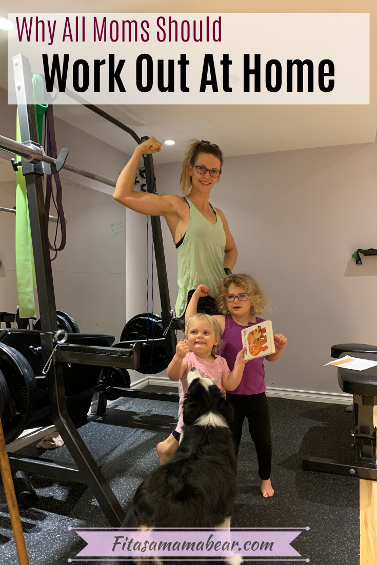 Pinterest image with text. mom two kids flexing muscles in at home gym