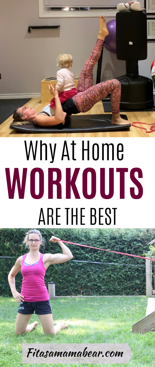 Pinterest image with text: mom doing glute bridge with babay. Second image mom doing resistance band bicep curl