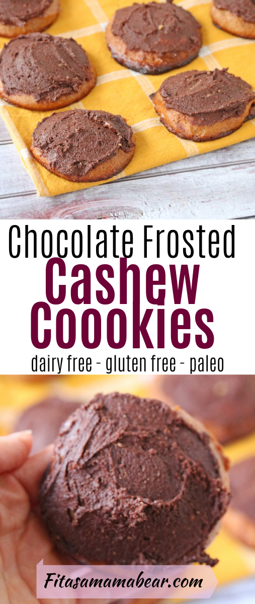 Pinterest image with text: paleo cookies topped with chocolate frosting