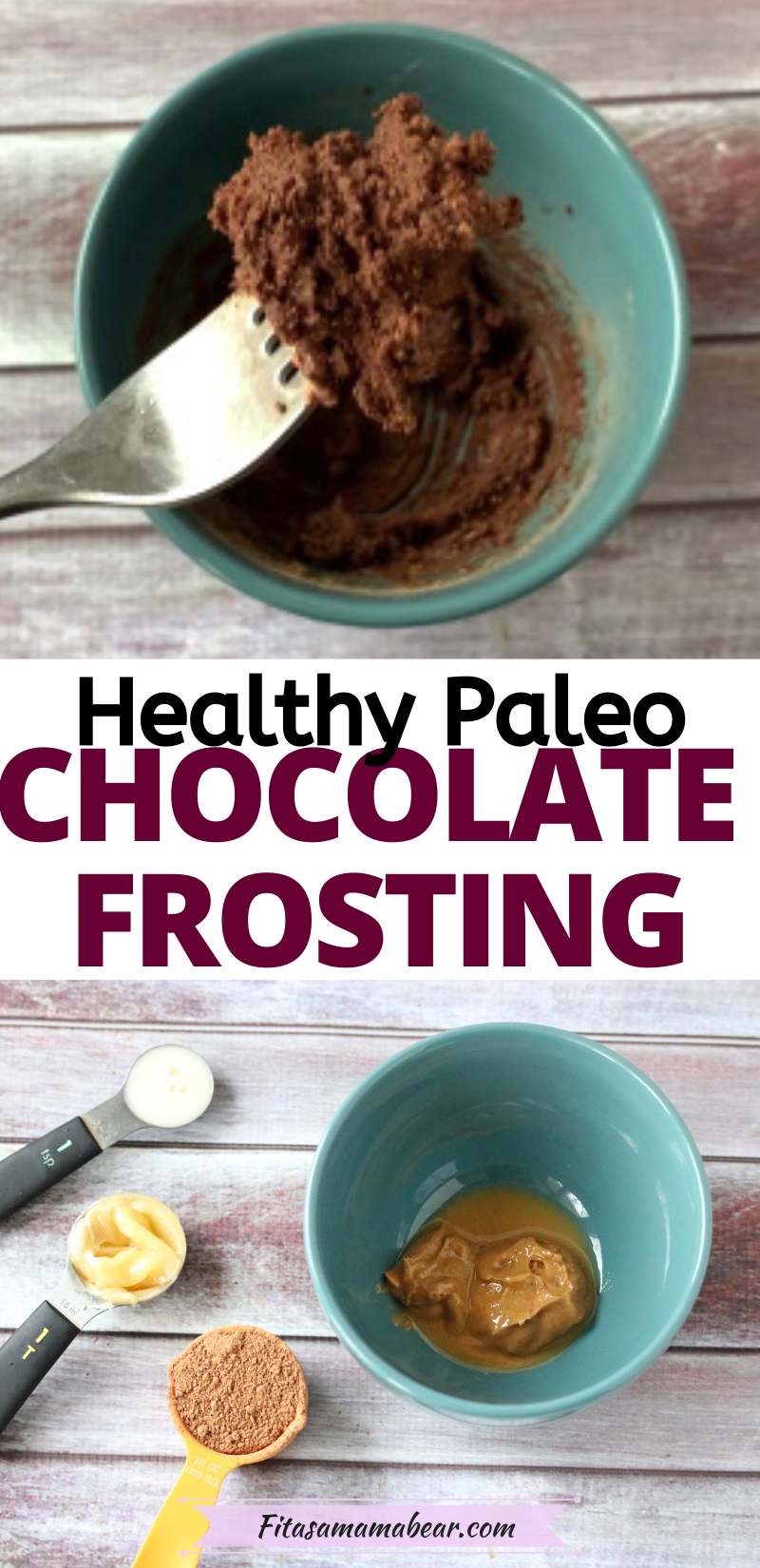 Pinterest image with text: two images of quick and easy chocolate frosting in a teal bowl