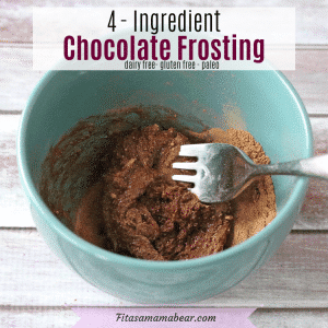 Facebook image with text: blue bowl with healthy chocolate frosting and a fork