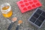 Homemade lotion bars in process image