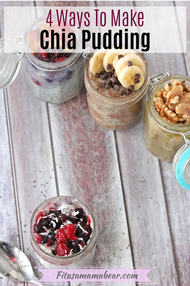 Pinterest image with text: Chia pudding recipes in a jar lined up in a row