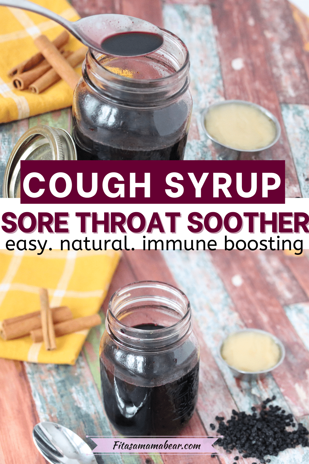 Pin image with text: two images of elderberry cough syrup in a mason jar with honey and elderberries behind it