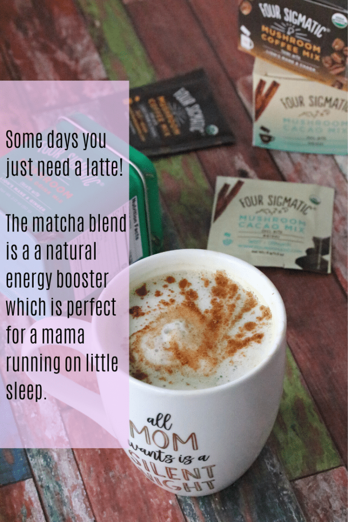 Image with text: homemade matcha latte with matcha containers behind it