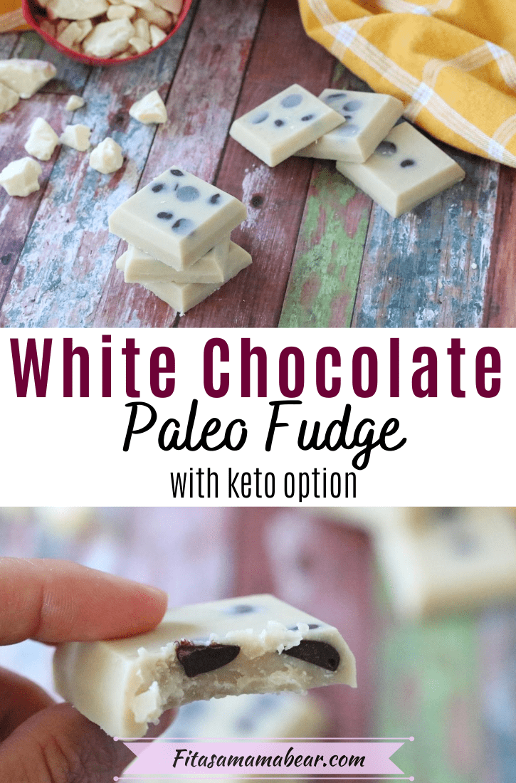 Pinterest image with text: three squares of dairy-free white chocolate fudge with chocolate chips stacked. More squares and cacao butter behind it. Top image of one square chocolate fudge with a bite out
