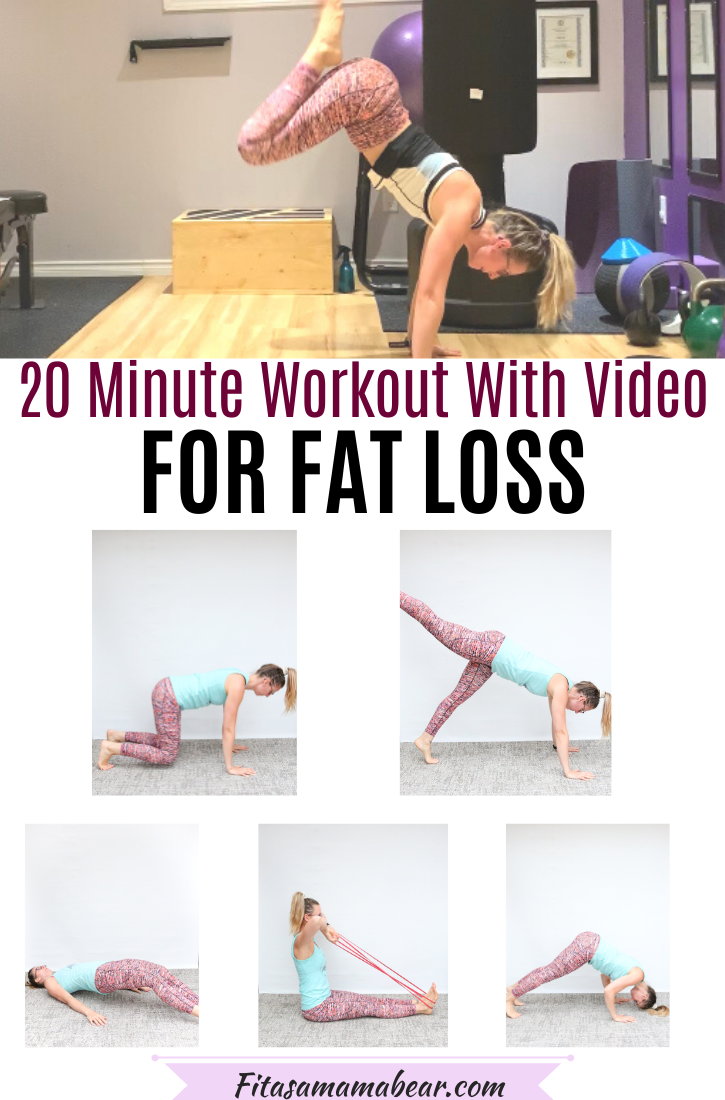 Pinterest image with text: multiple images of a woman performing at home exercises and text about a 20 minute full-body workout