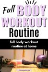 Pinterest image with text: woman in pink shirt and dark pants performing a push up in the gym with text about a full-body workout routine
