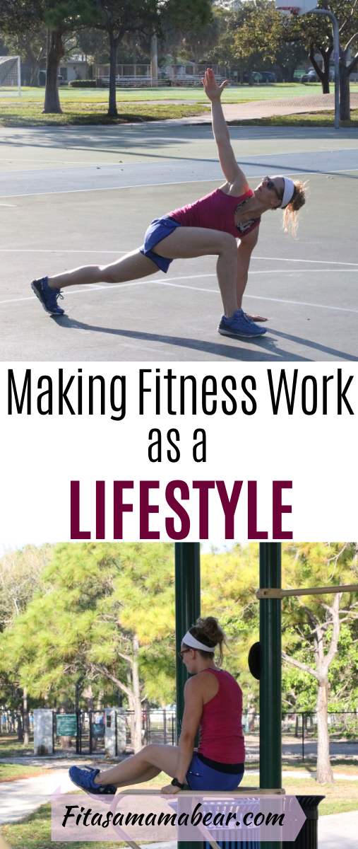 Pinterest image with text: woman outside in pink shirt and blue shorts lacing up running shoes and strentching