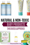 Pinterest image with text: a collage of natural baby products like bath wash, toothpaste, and baby soap on white backgrounds