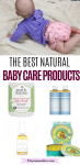 Pinterest image with text: multiple images the top of a baby in a long sleeve purple shirt and cloth diaper the bottom images a collage of natural baby products on white backgrounds