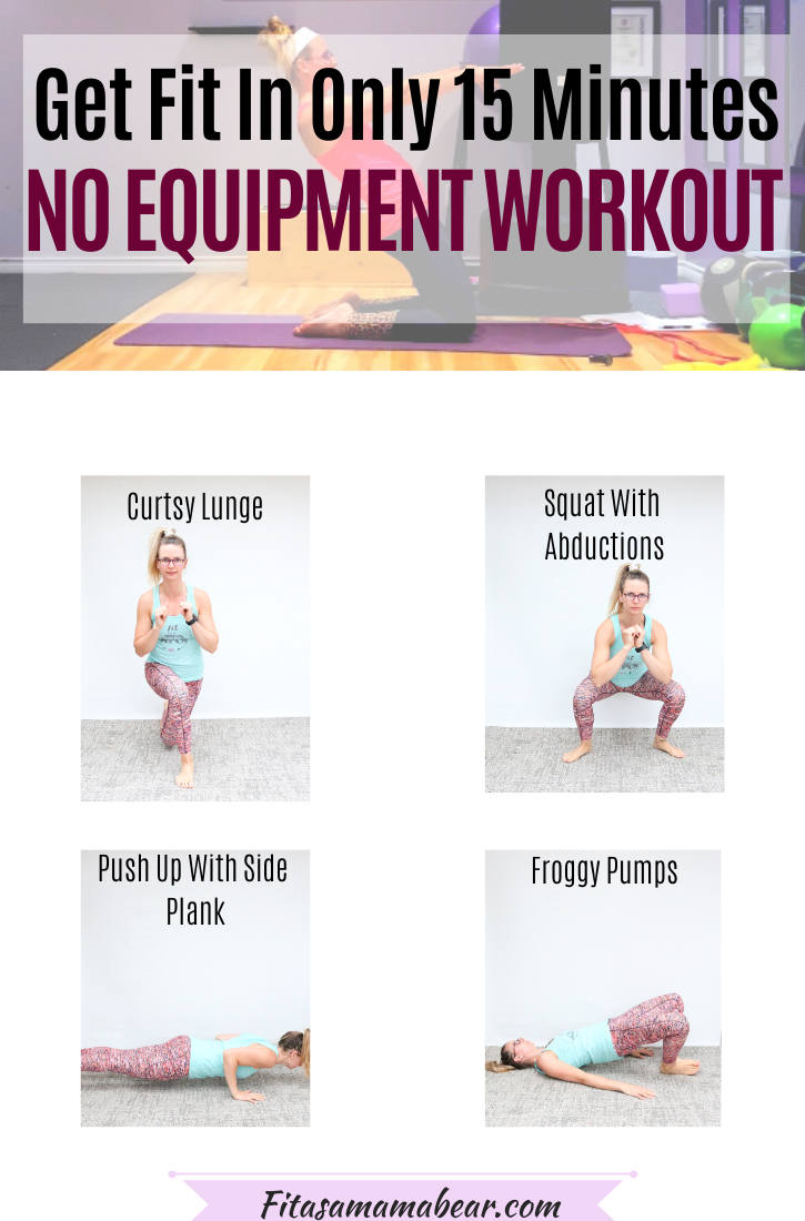 Pinterest image with text:multiple no equipment exercises with text overlay