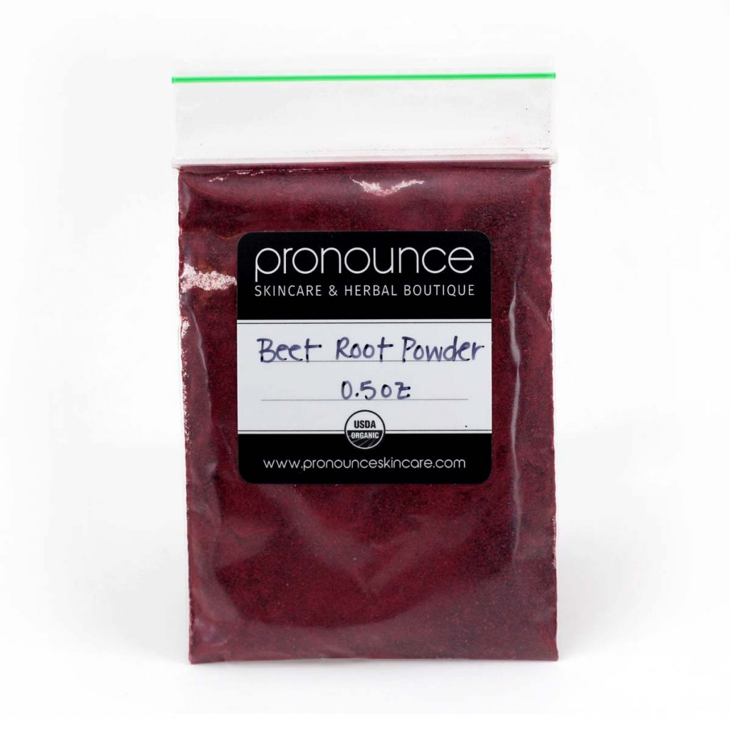 Plastic bag with a black and white label of beetroot powder