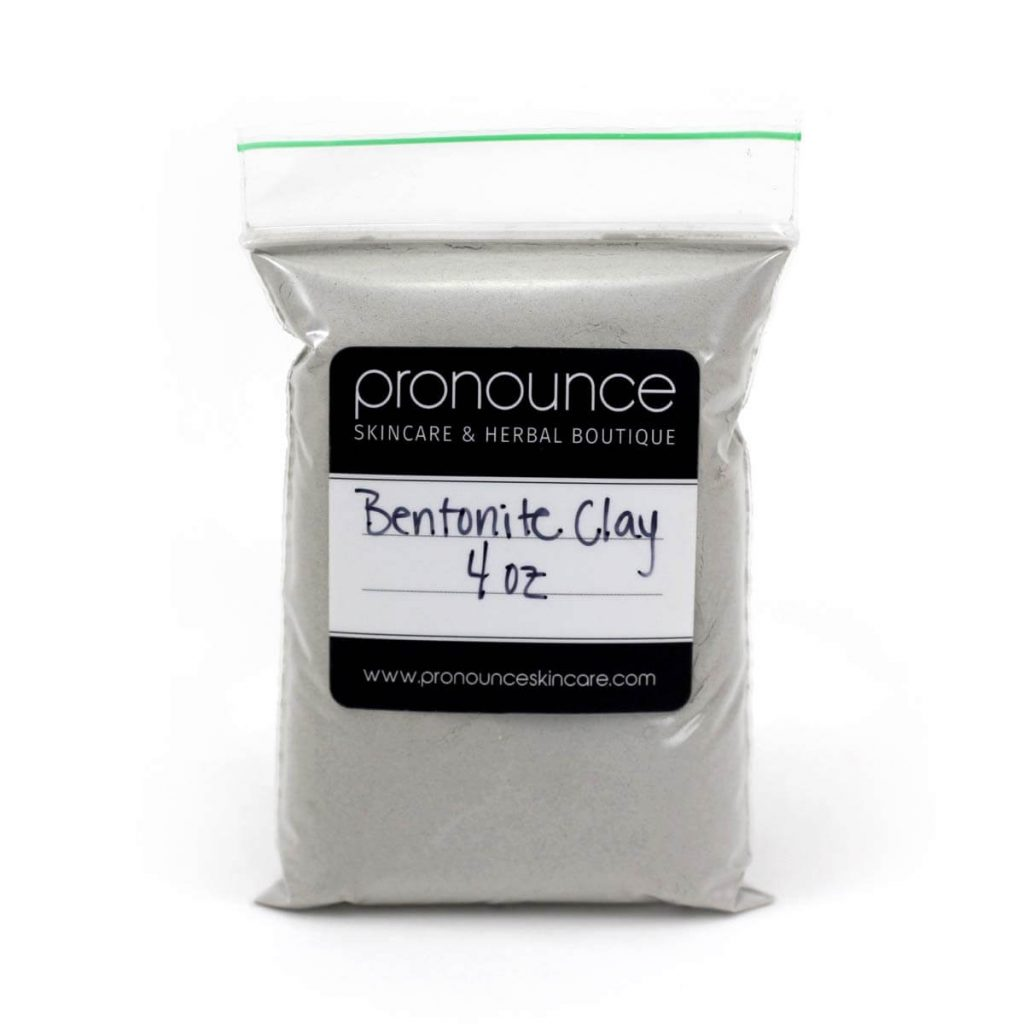 Plastic bag of bentonite clay with a black label