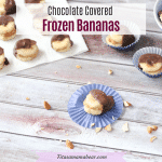 Featured image with text: chocolate dipped bananas on cupcake wrappers and parchment paper with almond around them