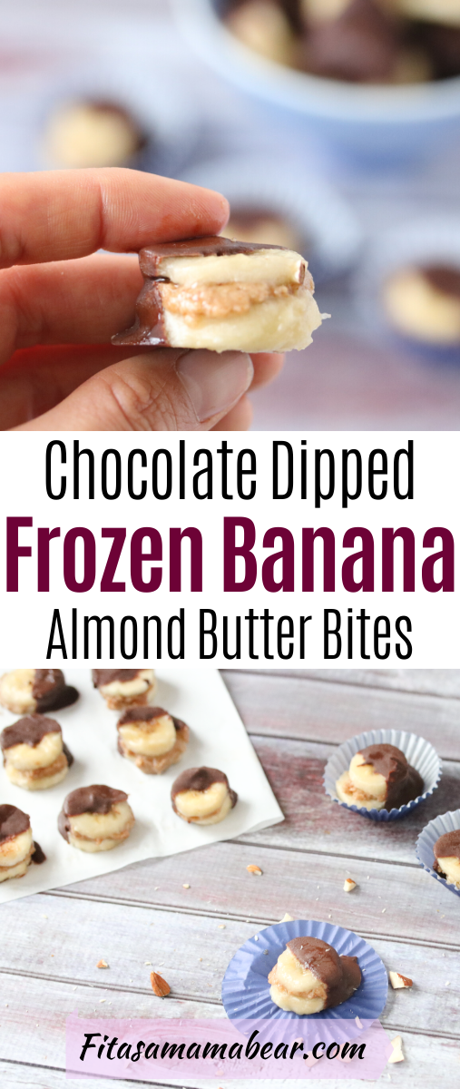 Pinterest image with text: chocolate covered frozen banana bites. The top image of a hand holding one and the bottom image of them on cupcake cups and parchment paper