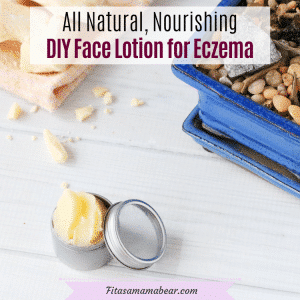 Facebook image with text: homemade face cream in a silver tin with cacao butter on a napkin behind it and a plant in a blue holder