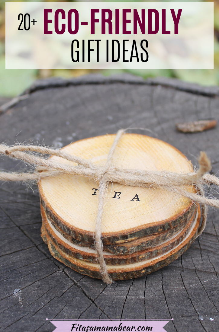 Pinterest image with text: handmade, eco-friendly wooden coasters on a tree stump
