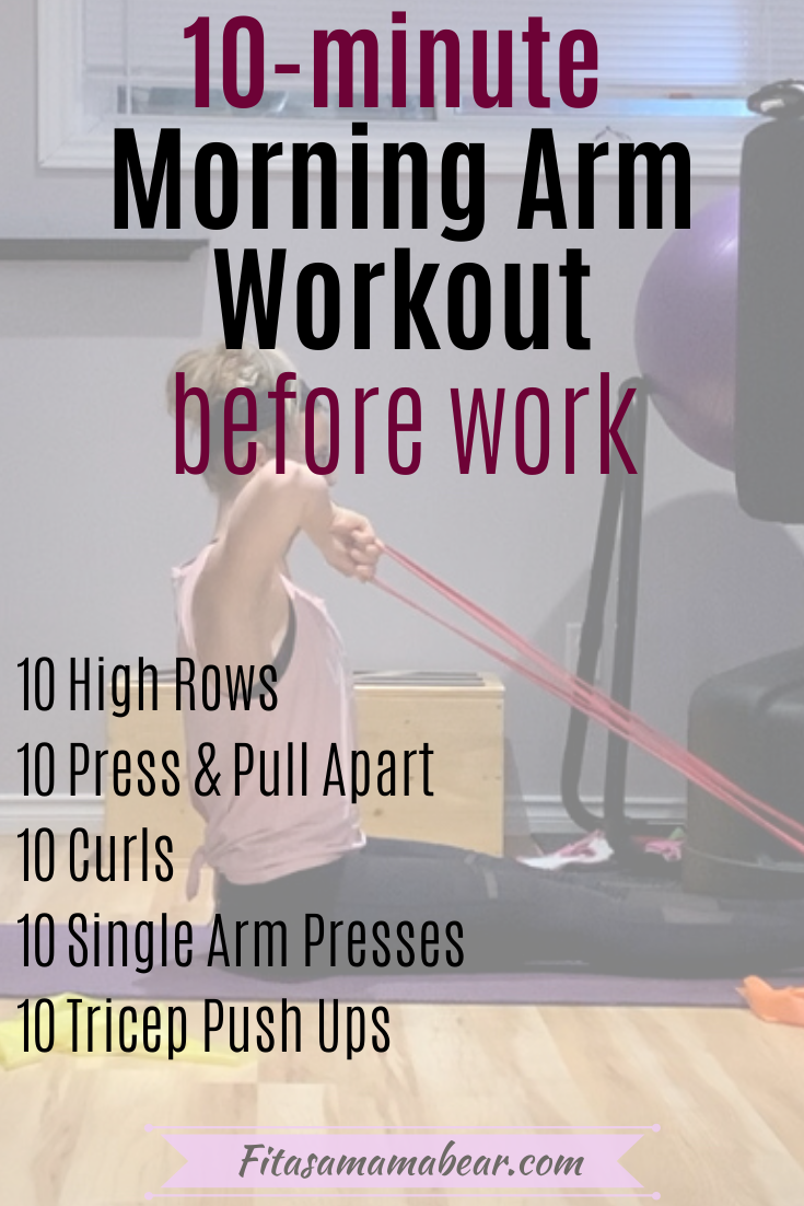 Pinterest image with text: woman in pink shirt and black pants performing an arm exercise at home. Image has text overlay.
