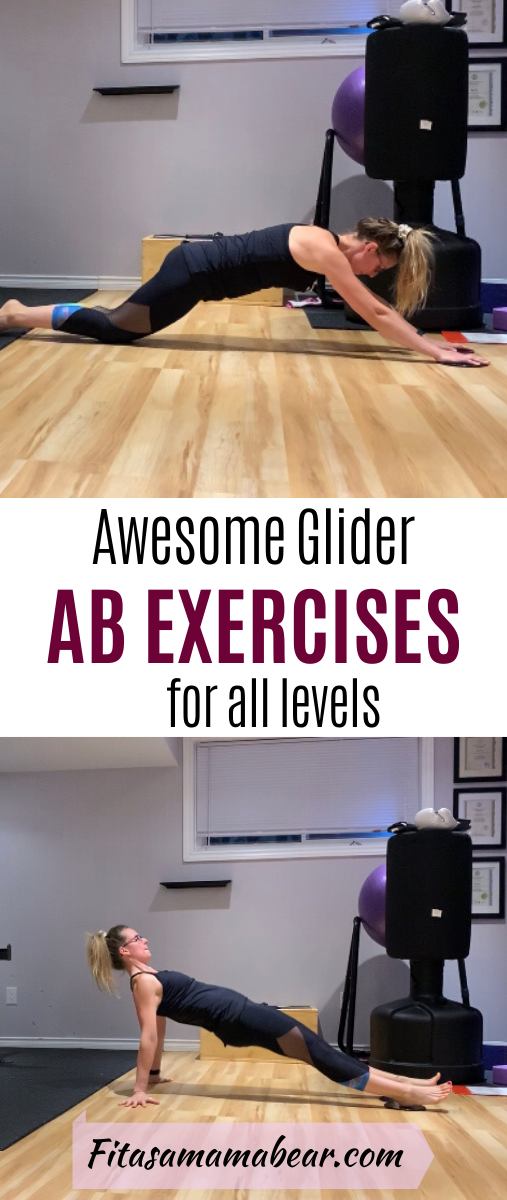 Pinterest image with text: woman in black clothes performing glider exercises in a gym