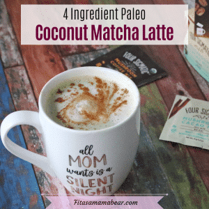 Facebook image with text: homemade matcha latte in white mug with cinnamon and matcha and coffee packs around it