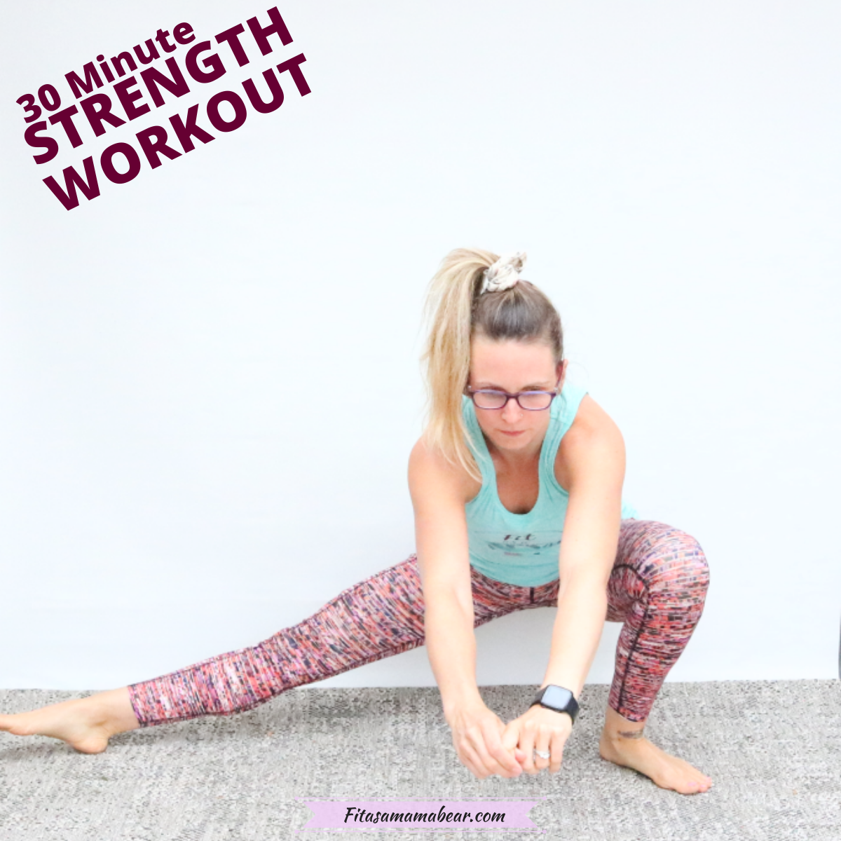 Featured image: woman in bright workout clothes performing a side lunge