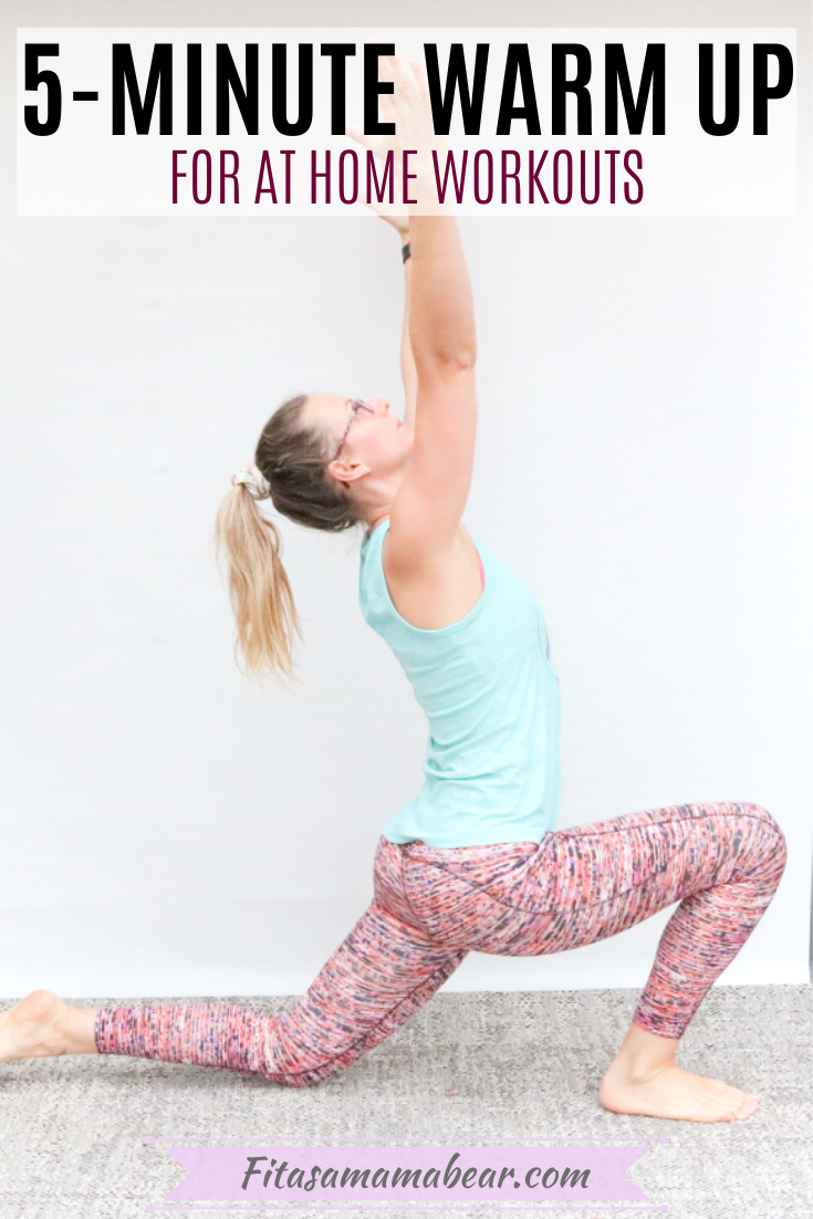 Pinterest image with text: Woman in bright pants and blue shirt in a lunge position with arms overhead