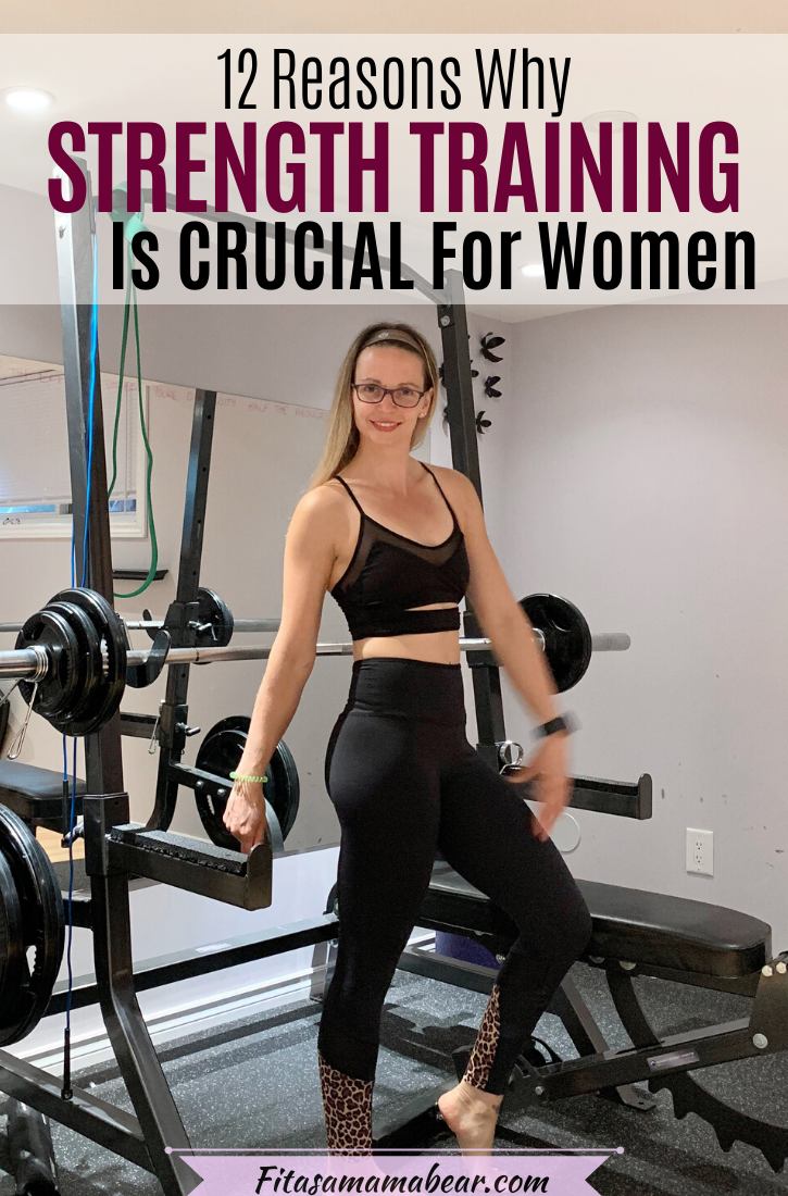Pinterest image with text: Woman in all black workout clothes standing in a gym