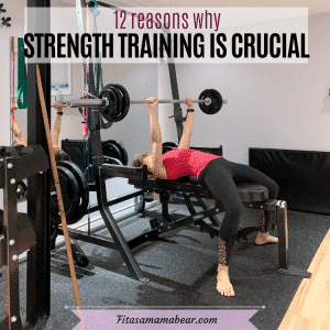 Workout image with text: women in black pants and a pink shirt on a workout bench resistance training